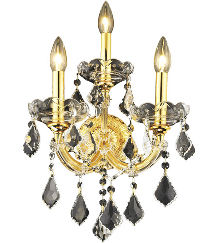 Elegant Lighting 2800W3G/EC Maria Theresa 3 Light 12 inch Gold Wall Sconce Wall Light in Clear, Elegant Cut photo