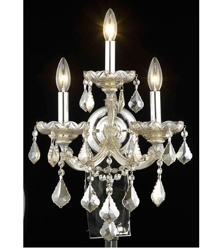 Elegant Lighting Maria Theresa 3 Light Wall Sconce in Golden Teak with Royal Cut Golden Teak Crystal 2800W3GT-GT/RC photo