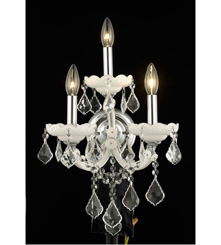 Elegant Lighting Maria Theresa 3 Light Wall Sconce in White with Royal Cut Clear Crystal 2800W3WH/RC photo