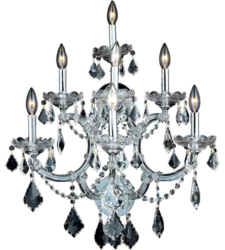 Elegant Lighting Maria Theresa 7 Light Wall Sconce in Chrome with Elegant Cut Clear Crystal 2800W7C/EC photo
