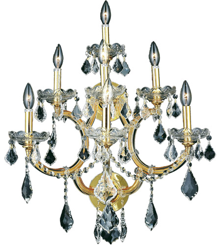 Elegant Lighting Maria Theresa 7 Light Wall Sconce in Gold with Elegant Cut Clear Crystal 2800W7G/EC photo