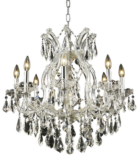 Elegant Lighting 2801D26C/RC Maria Theresa 9 Light 26 inch Chrome Dining Chandelier Ceiling Light in Clear, Royal Cut photo