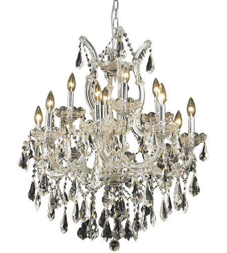 Elegant Lighting Maria Theresa 13 Light Dining Chandelier in Chrome with Royal Cut Clear Crystal 2801D27C/RC photo