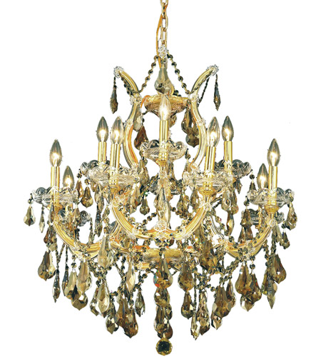 Elegant Lighting Maria Theresa 13 Light Dining Chandelier in Gold with Royal Cut Golden Teak Crystal 2801D27G-GT/RC photo