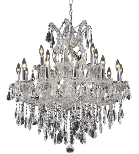 Elegant Lighting 2801d30c Rc Maria Theresa 19 Light 30 Inch Chrome Dining Chandelier Ceiling In Clear Royal Cut