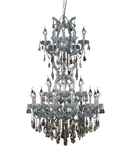 Elegant Lighting Maria Theresa 25 Light Dining Chandelier in Silver and Clear Mirror with Swarovski Strass Golden Teak Crystal 2801D30SC-GT/SS photo