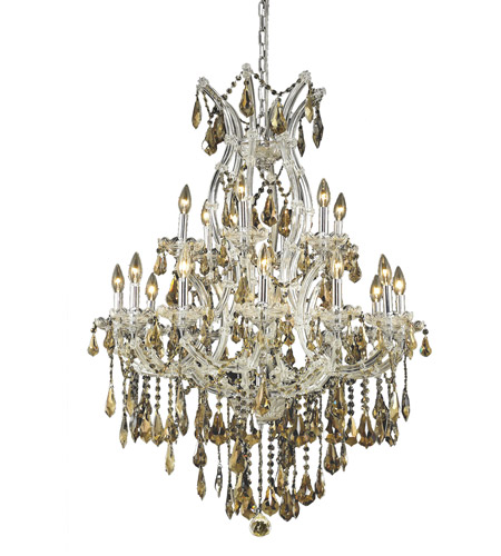 Elegant Lighting Maria Theresa 19 Light Dining Chandelier in Chrome with Royal Cut Golden Teak Crystal 2801D32C-GT/RC photo