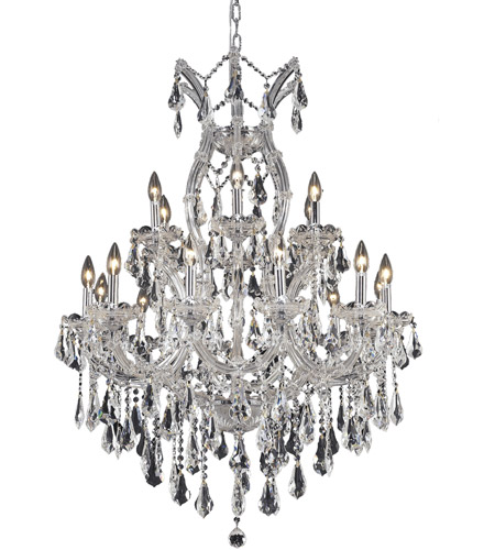 Elegant Lighting 2801D32C/SS Maria Theresa 19 Light 32 inch Chrome Dining Chandelier Ceiling Light in Clear, Swarovski Strass photo