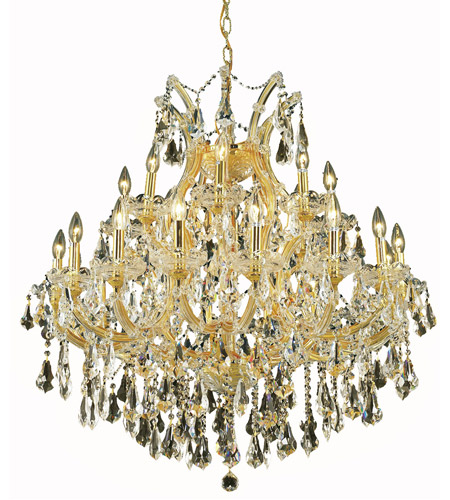 Elegant Lighting 2801D36G-GT/RC Maria Theresa 24 Light 36 inch Gold Dining Chandelier Ceiling Light in Golden Teak, Royal Cut photo