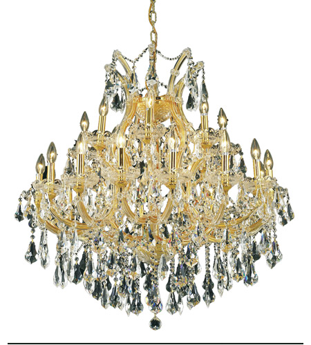 Elegant Lighting 2801D36G/RC Maria Theresa 24 Light 36 inch Gold Dining Chandelier Ceiling Light in Clear, Royal Cut photo thumbnail