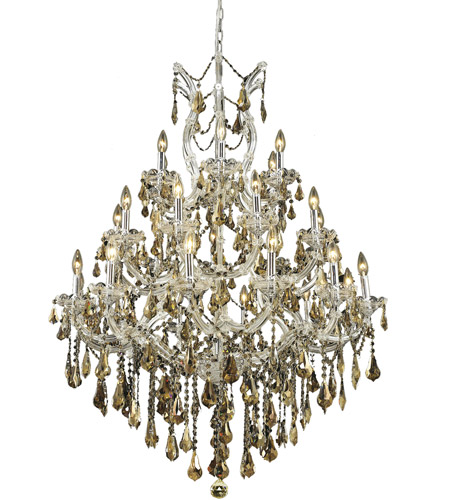 Elegant Lighting 2801D38C-GT/SS Maria Theresa 28 Light 38 inch Chrome Dining Chandelier Ceiling Light in Golden Teak, Swarovski Strass photo