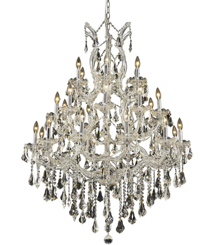 Elegant Lighting Maria Theresa 28 Light Dining Chandelier in Chrome with Swarovski Strass Clear Crystal 2801D38C/SS photo