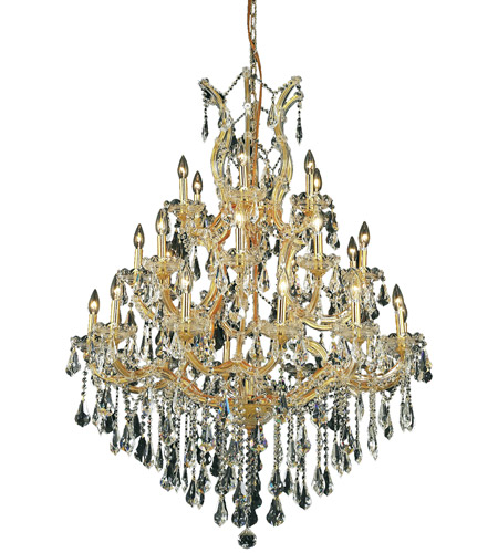 Elegant Lighting Maria Theresa 28 Light Dining Chandelier in Gold with Royal Cut Clear Crystal 2801D38G/RC photo
