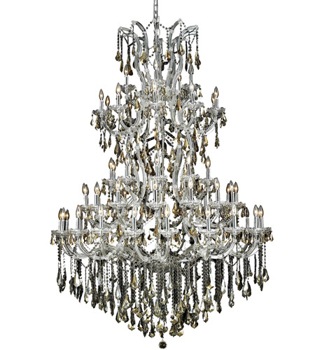 Elegant Lighting Maria Theresa 61 Light Foyer in Chrome with Swarovski Strass Golden Teak Crystal 2801G54C-GT/SS photo