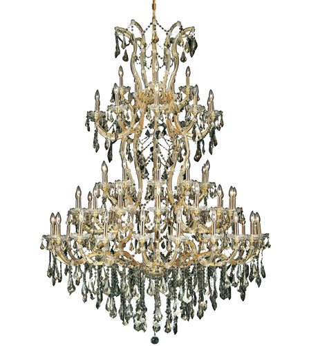 Elegant Lighting Maria Theresa 61 Light Foyer in Gold with Royal Cut Golden Teak Crystal 2801G54G-GT/RC photo