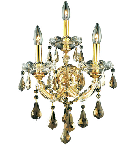 Elegant Lighting Maria Theresa 3 Light Wall Sconce in Gold with Royal Cut Golden Teak Crystal 2801W3G-GT/RC photo