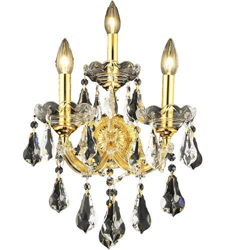 Elegant Lighting Maria Theresa 3 Light Wall Sconce in Gold with Swarovski Strass Clear Crystal 2801W3G/SS photo