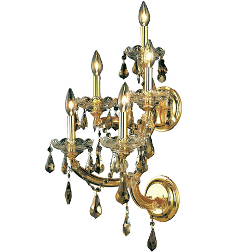 Elegant Lighting 2801W5G-GT/RC Maria Theresa 5 Light 12 inch Gold Wall Sconce Wall Light in Golden Teak, Royal Cut photo