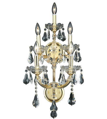 Elegant Lighting Maria Theresa 5 Light Wall Sconce in Gold with Swarovski Strass Clear Crystal 2801W5G/SS photo