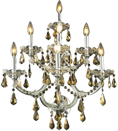 Elegant Lighting Maria Theresa 7 Light Wall Sconce in Chrome with Swarovski Strass Golden Teak Crystal 2801W7C-GT/SS photo