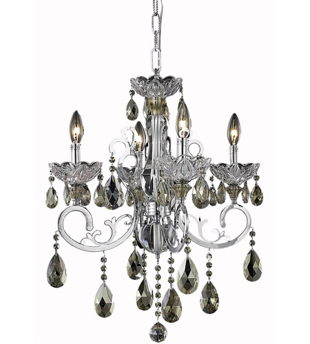Elegant Lighting Aria 4 Light Dining Chandelier in Chrome with Royal Cut Golden Teak Crystal 2830D20C-GT/RC photo