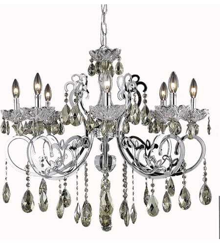 Elegant Lighting Aria 8 Light Dining Chandelier in Chrome with Swarovski Strass Golden Teak Crystal 2830D29C-GT/SS photo