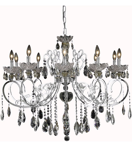 Elegant Lighting Aria 10 Light Dining Chandelier in Chrome with Swarovski Strass Clear Crystal 2830D36C/SS photo