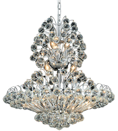 Elegant Lighting Sirius 14 Light Dining Chandelier in Chrome with Royal Cut Clear Crystal 2908D24C/RC photo