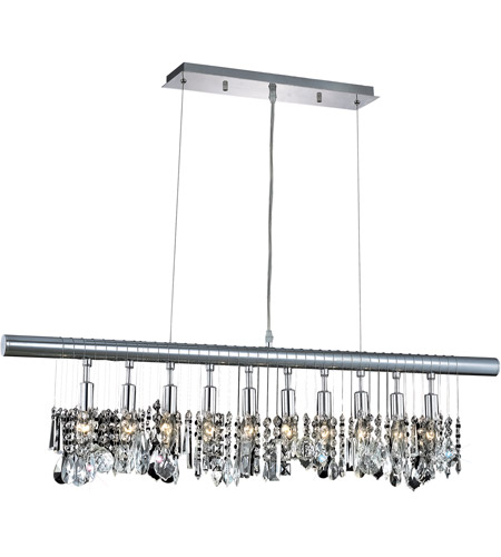 Elegant Lighting Chorus Line 10 Light Dining Chandelier in Chrome with Royal Cut Clear Crystal 3100D40C/RC photo