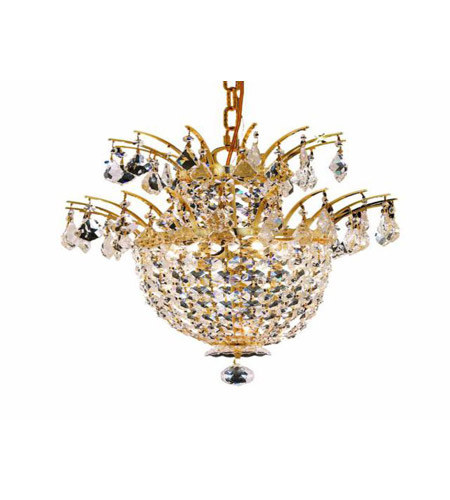 Elegant Lighting Flora 3 Light Chandelier in Gold with Spectra Swarovski Clear Crystals 5800D15G/SA photo