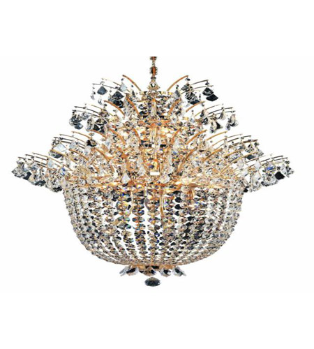 Elegant Lighting Flora 18 Light Chandelier in Gold with Royal Cut Clear Crystals 5800D27G/RC photo