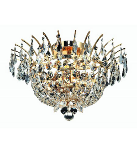 Elegant Lighting 5800F19G/SA Flora 6 Light 19 inch Gold Flush Mount Ceiling Light in Spectra Swarovski photo