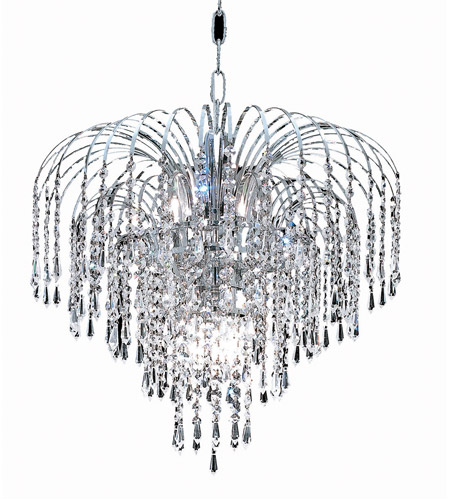 Elegant Lighting Falls 6 Light Dining Chandelier in Chrome with Royal Cut Clear Crystal 6801D19C/RC photo