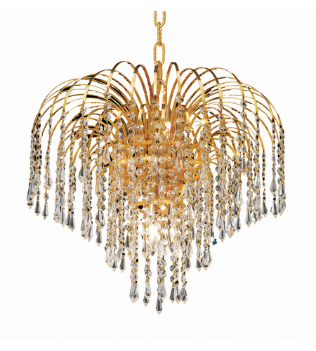 Elegant Lighting Falls 6 Light Dining Chandelier in Gold with Royal Cut Clear Crystal 6801D19G/RC photo