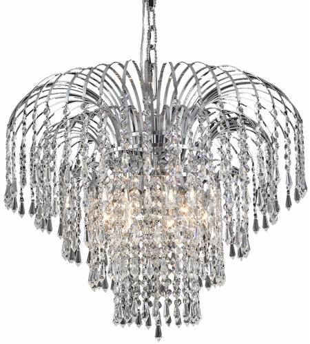 Elegant Lighting 6801D21C/RC Falls 6 Light 21 inch Chrome Dining Chandelier Ceiling Light in Royal Cut photo