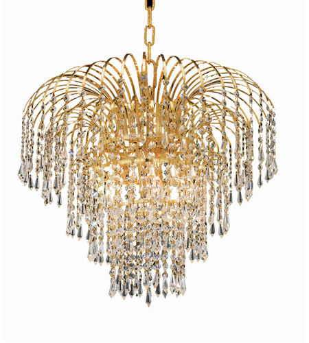 Elegant Lighting 6801D21G/RC Falls 6 Light 21 inch Gold Dining Chandelier Ceiling Light in Royal Cut photo