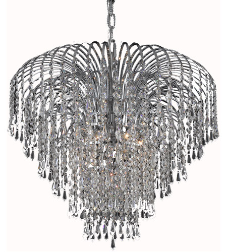 Elegant Lighting Falls 6 Light Dining Chandelier in Chrome with Swarovski Strass Clear Crystal 6801D25C/SS photo