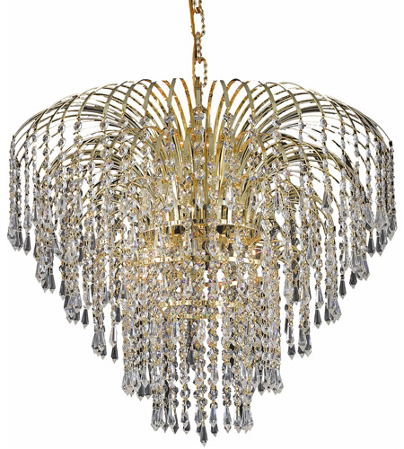 Elegant Lighting Falls 6 Light Dining Chandelier in Gold with Royal Cut Clear Crystal 6801D25G/RC photo