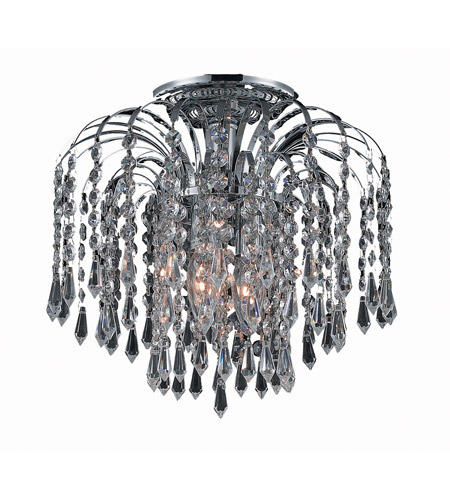Elegant Lighting Falls 3 Light Flush Mount in Chrome with Spectra Swarovski Clear Crystal 6801F12C/SA photo