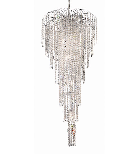 Elegant Lighting Falls 11 Light Foyer in Chrome with Royal Cut Clear Crystal 6801G25C/RC photo