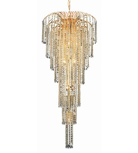 Elegant Lighting Falls 11 Light Foyer in Gold with Royal Cut Clear Crystal 6801G25G/RC photo