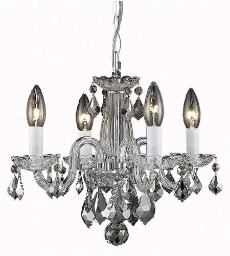 Elegant Lighting V7804D15C/RC Rococo 4 Light 15 inch Chrome Dining Chandelier Ceiling Light in Clear photo