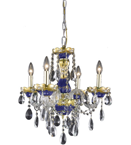 Elegant Lighting Alexandria 4 Light Dining Chandelier in Blue with Swarovski Strass Clear Crystal 7810D19BE/SS photo