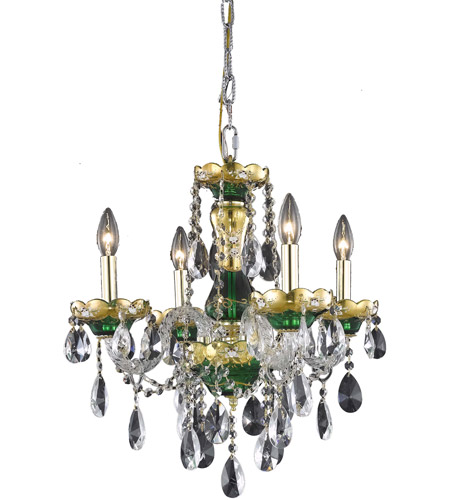 Elegant Lighting Alexandria 4 Light Dining Chandelier in Green with Elegant Cut Clear Crystal 7810D19GN/EC photo