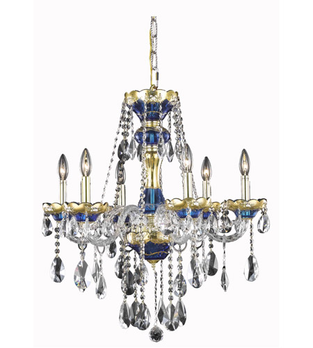Elegant Lighting Alexandria 6 Light Dining Chandelier in Blue with Swarovski Strass Clear Crystal 7810D24BE/SS photo
