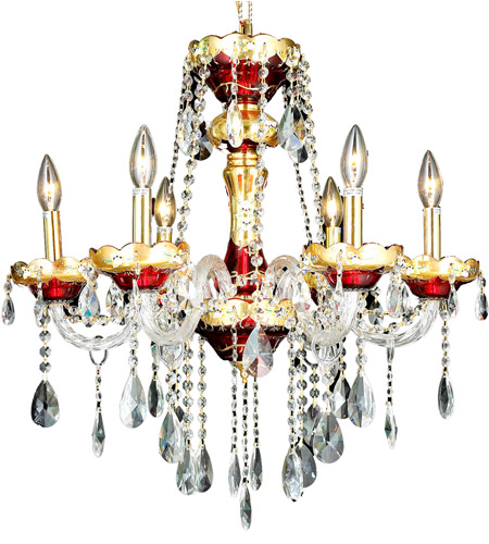 Elegant Lighting 7810D24G/RC Alexandria 6 Light 24 inch Gold Dining Chandelier Ceiling Light in Royal Cut photo