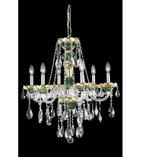Elegant Lighting Alexandria 6 Light Dining Chandelier in Green with Royal Cut Clear Crystal 7810D24GN/RC photo