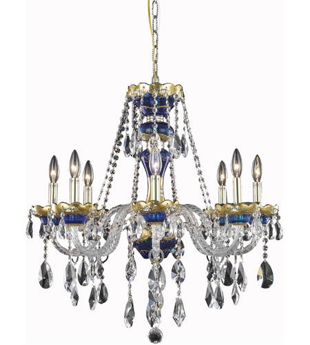Elegant Lighting Alexandria 8 Light Dining Chandelier in Blue with Royal Cut Clear Crystal 7810D26BE/RC photo