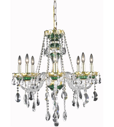 Elegant Lighting Alexandria 8 Light Dining Chandelier in Green with Swarovski Strass Clear Crystal 7810D26GN/SS photo