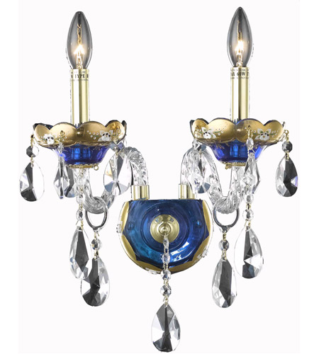 Elegant Lighting 7810W2BE/SS Alexandria 2 Light 12 inch Blue Wall Sconce Wall Light in Swarovski Strass photo